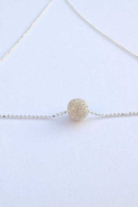 silver necklace, two tone necklace, ball necklace, dot necklace, bead necklace, simple necklace, delicate necklace- 500