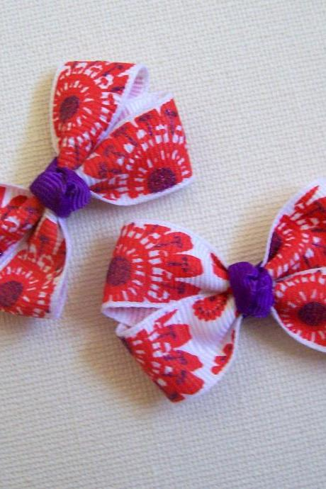 Mini Boutique Bow Pair - White, Red, Purple