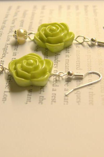 Green flower earrings