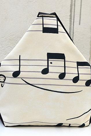 Musical Backpack. Mini Backpack. Print Music Note Fabric Rucksack. Canvas Backpack. Kid Backpack. Triangle Backpack.