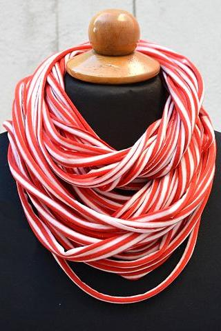 Striped Upcycle Infinity Scarf, Red White T Shirt Tee Scarf, Jersey Scarf, Unisex Scarf. Loop Scarf Infinity. Jersey Necklace.