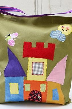 Canvas Tote Bag with Applique Castle. Green Bag. Laptop Bag. Large Bag. Book Bag. City Bag.