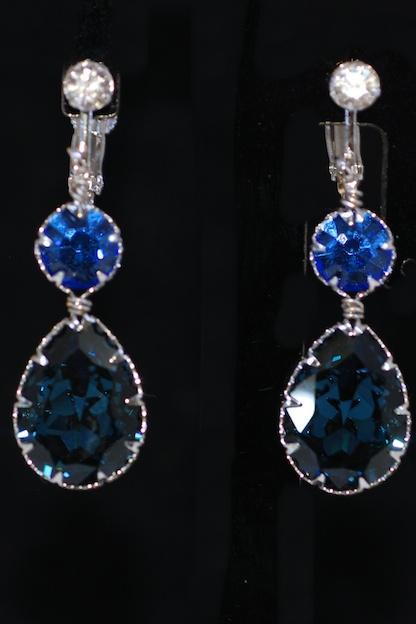 Crystal Screw Back Clip On Earring with Swarovski Sapphire Round, Montana Blue Teardrop Crystals - Wedding Jewelry, Bridal Earrings (E668)