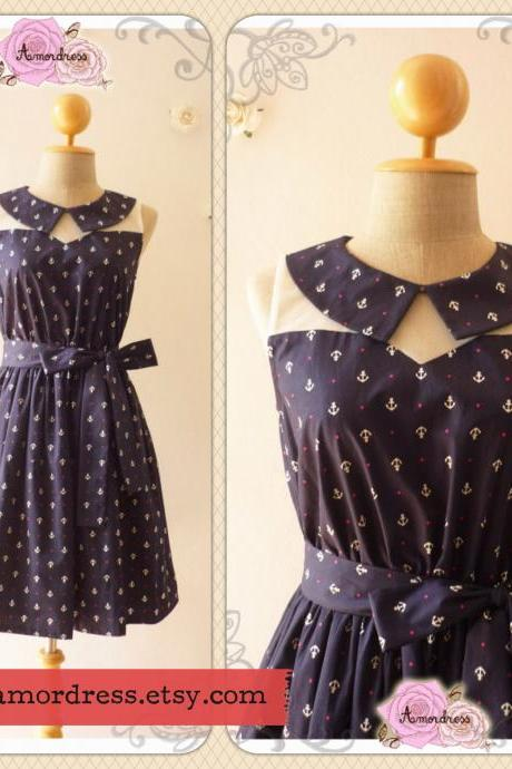 Summer Dress Peter Pan Collar Dress Navy Nautical Dress Illusion Dress Bridesmaid Dress Mod Dress -Size S, M, L
