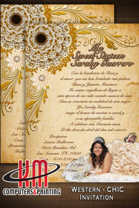 Western Chic Invitations For Sweet16 or Quinceañera