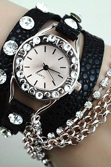 Rhinestone Synthetic Leather Silver Sling Chain Quartz Wrist Watch