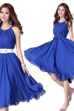 Royal Blue Short Evening Wedding Party Dress Lightweight Sundress Summer Dress Holiday Beach Dress Bridesmaid dress Knee Length