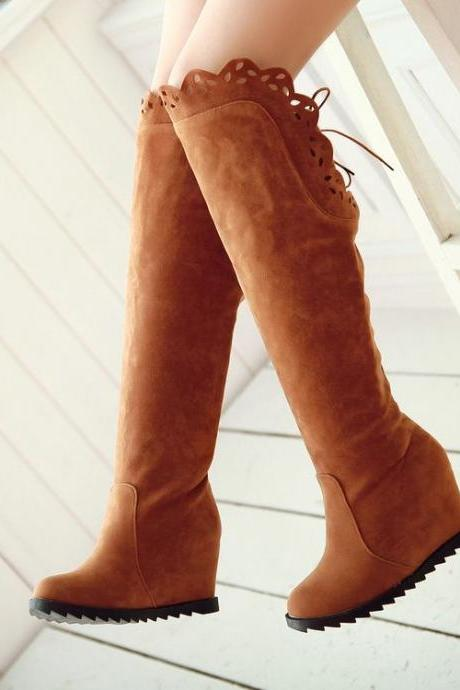 Suede Round-Toe Wedge Knee-High Boots with Scalloped Trim Edges