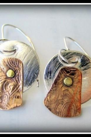 Earrings - TriMetal Sterling Copper Brass Cold Connections
