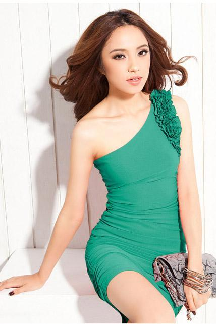Adorable One Shoulder With Ruffle Cotton Ruched Dress - Green