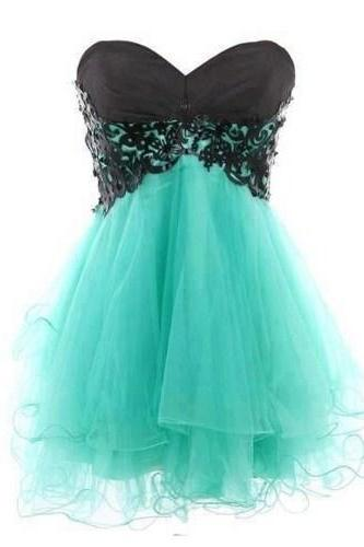 Lovely and Fantastic Lace Ball Gown Sweetheart Mini Prom Dress. Pretty Homecoming Dresses, Graduation Dresses