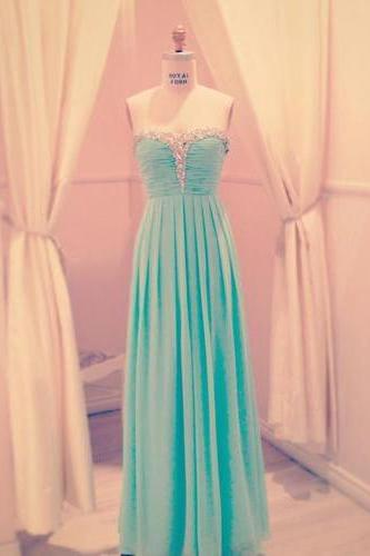 Charming A-line Sweetheart Floor Length Prom Dress with Beadings, Prom Dresses 2016
