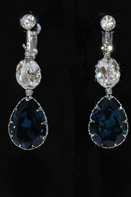Wedding Jewelry, Bridesmaid Earrings - Crystal Screw Back Clip On Earring with Swarovski Clear Oval, Montana Blue Teardrop Crystal (E664)