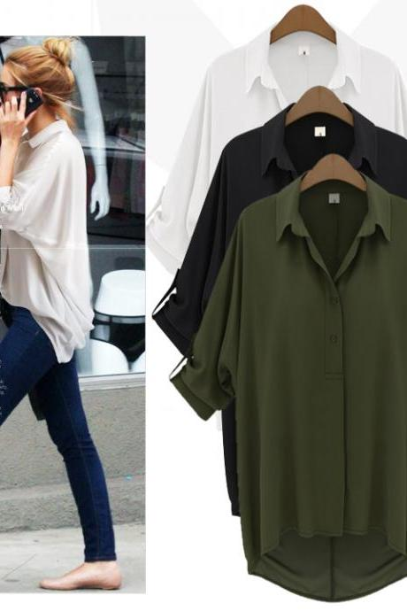 Chiffon Collared Neck Tabbed Sleeves Button Down Shirt