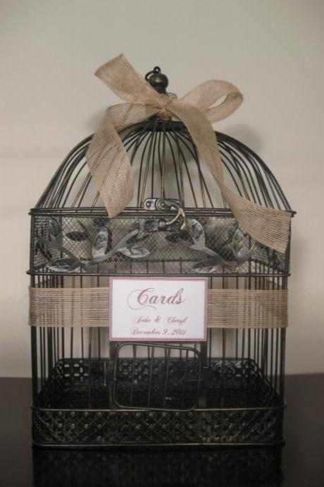 wedding Birdcage Card Holder with Burlap