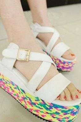 Braided strap open toe platform shoes