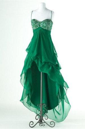 Charming A-line Spaghetti Straps High-Low Prom Dress with Sequins