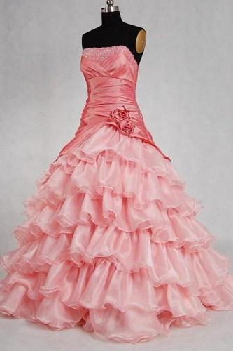 Alluring Pink Ball Gown Scoop Neckline Sweep Train Prom Dress
