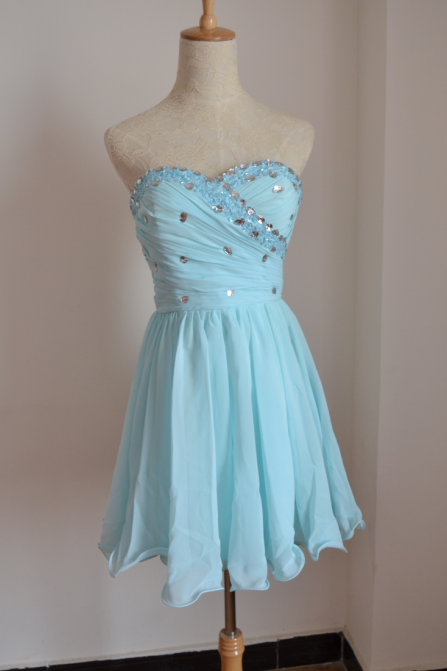Lovely Light Blue Chiffon Short Prom Dresses 2014 with Beadings