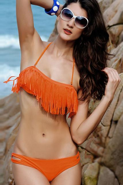 Designer Tassel Decoration Bikini Set - Orange
