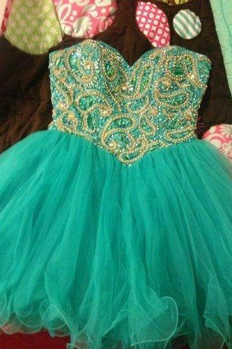 Charming Mini Tulle Green Prom Dresses 2016 with Beadings, Short Prom Dresses, Homecoming Dresses, Party Dresses