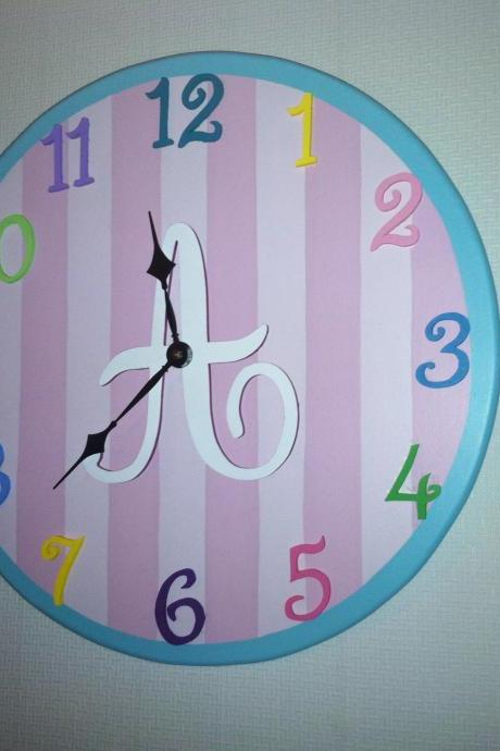 Nursery Clock, Child's Clock- CUSTOMIZABLE-18' Round- CUSTOMIZABLE COLORS,FONTS,DESIGN