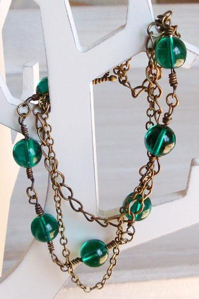 Czech Glass Beads Brass Chain Bracelet