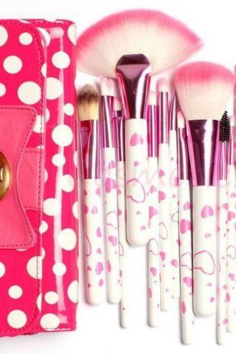 18 Piece Makeup Brush Set In Bow-Knot Polka Dot Pink Bag