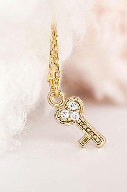 Tiny Gold Key Charm Necklace with Pave Cubic Zirconia