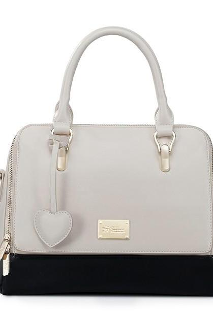 Chic White and Black Heart Charmed Fashion Hand Bag