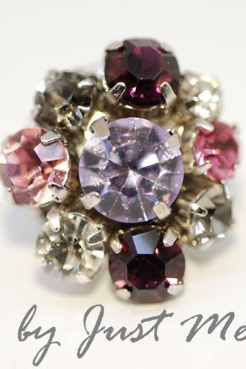Vintage Earring with Swarovski Crystals - Pink & Purple (E204)