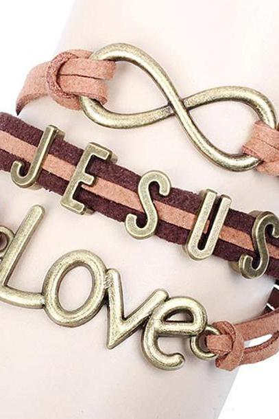 Jesus Love Brown Leather Bracelet