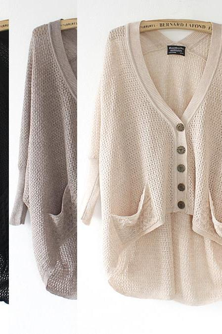 Fashion Lazy loose bat hollow sweater