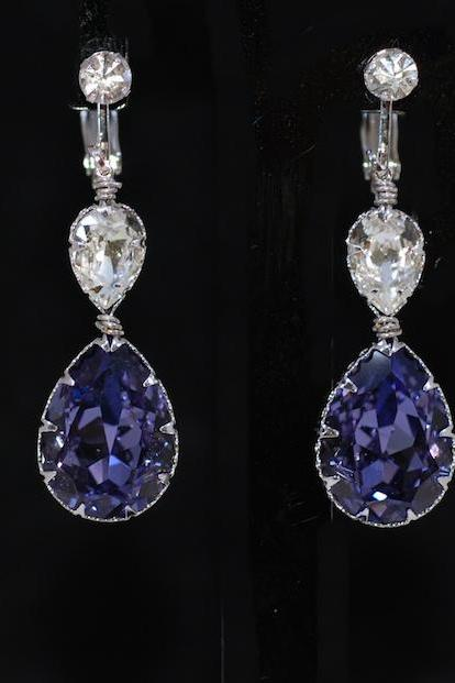 Crystal Clip on Screw Back Earring with Swarovski Clear, Tanzanite (Purple) Teardrop Crystals - Wedding Jewelry, Bridal Earrings (E673)