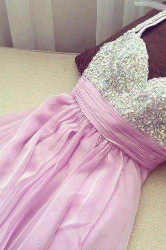 Sweet Lilac Mini Chiffon Prom Dress with Beadings, Homecoming Dresses, Short Prom Dresses