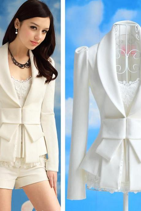 Fashion New Style Long Sleeve Bow Tie Slim White Blazer