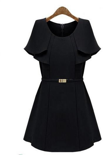 High Quality O Neck Cap Sleeves Knitting Waist Skirt Mini Dress with Belt - Black