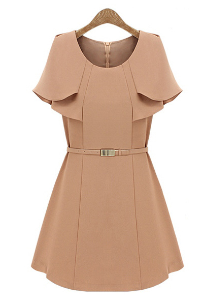 High Quality O Neck Cap Sleeves Knitting Waist Skirt Mini Dress with Belt - Bare Pink