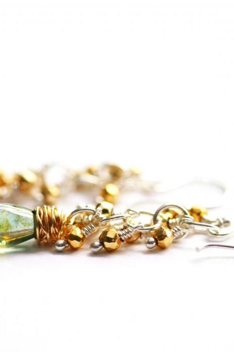 Long Dangle Earrings in Sterling Silver and Gold Filled with Pyrite and Green Czech Glass Beads
