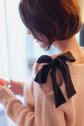 Fashion pink color BOWKNOT SWEATER