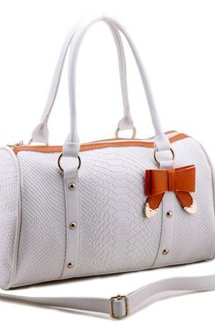 Free Shipping Adorable Bowknot & Rivet PU Satchel Bags