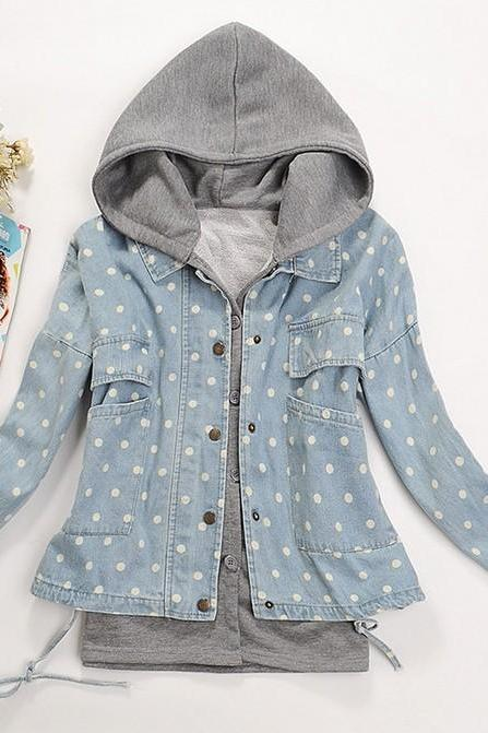 Detachable two-piece denim hooded casual jacket BCBECA