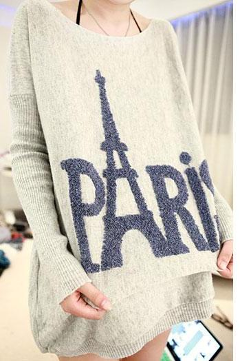 Loose Fitting PARIS Eiffel Tower Print Knit Sweater - Gray [grhmf260002076]