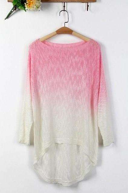 European Style Gradient Batwing High-Low Hemline Knit Sweater