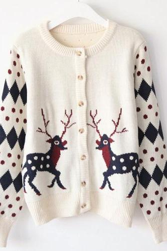 Reindeer Knitted Ugly Christmas Cardigan Sweater
