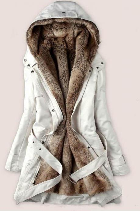 White Parka Jacket with Faux Fur Lining for Women-White Winter Jacket for Women