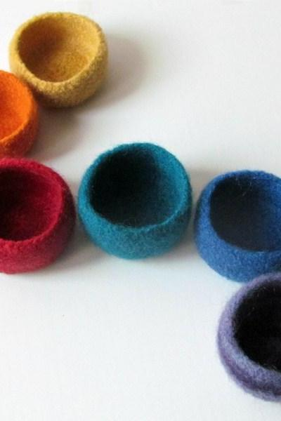Rainbow felted bowls -gorgeous accent bright colors- desk organizer - set of six