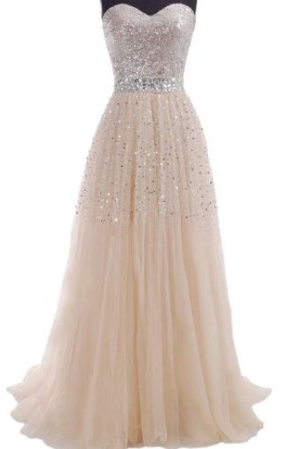 Charming A-line Floor Length Chiffon with Beadings Prom Dress