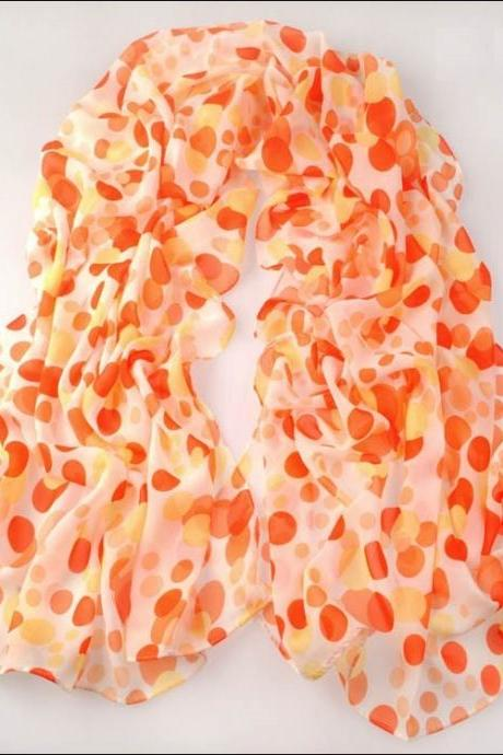 2014 New Fashion Chiffon Printing Polkd Dot Scarves Shawls Orange Yellow