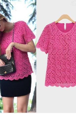 Summer coat female lace on the dress with short sleeves
